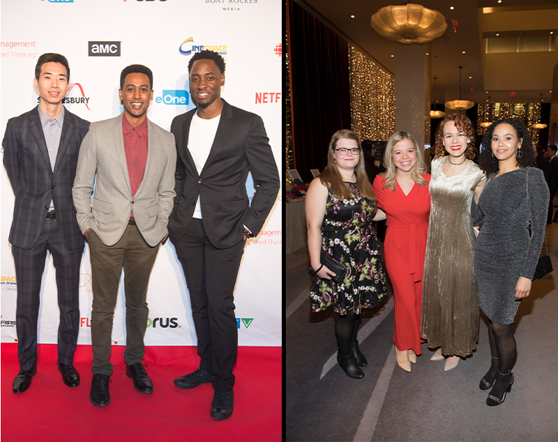 A series of two images - Clockwise rotation (Three males standing for a group photo on the red carpet, four females standing together for a group photo in the reception area.