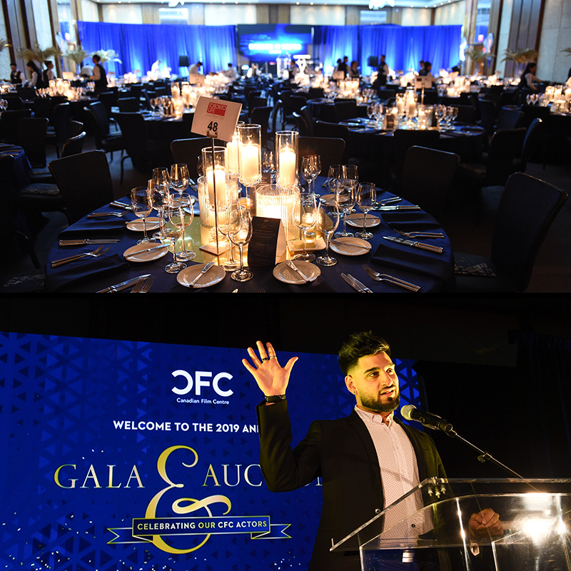A series of two images going top to bottom - (A picture of the table setup and view of the ballroom, A picture of speaker talking into the microphone on stage of the gala)