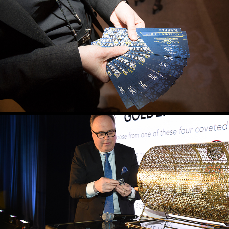 A series of two images - from top to bottom (A close up shot of a man holding the golden raffle tickets, a picture of an auctioneer calling out the winner for the golden raffle ticket.)