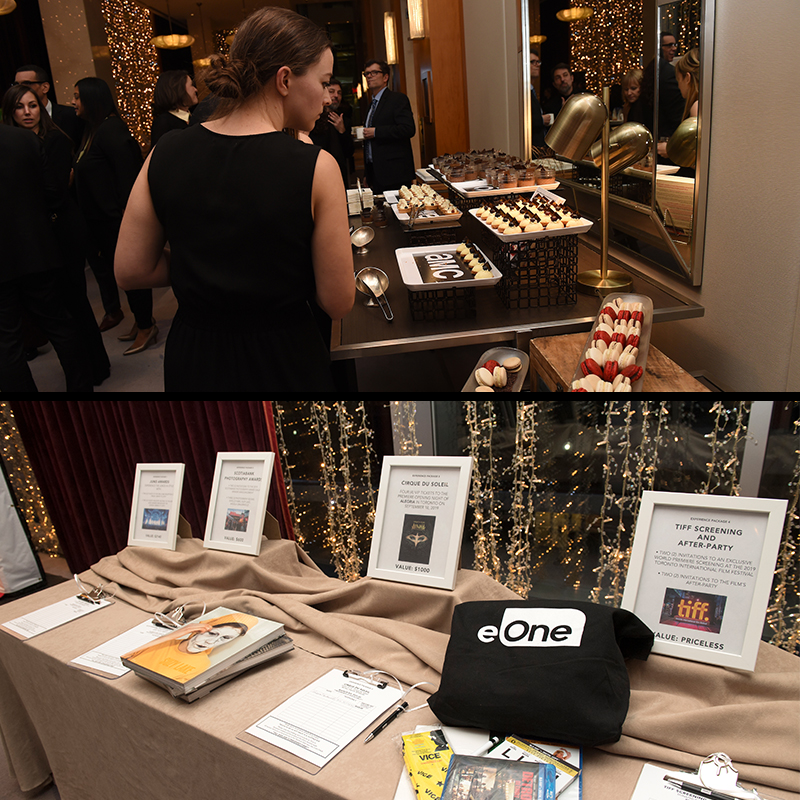 A series of two images - from top to bottom (A picture of a woman grabbing desserts from different platters, a picture of different items that were apart of the silent auction.)
