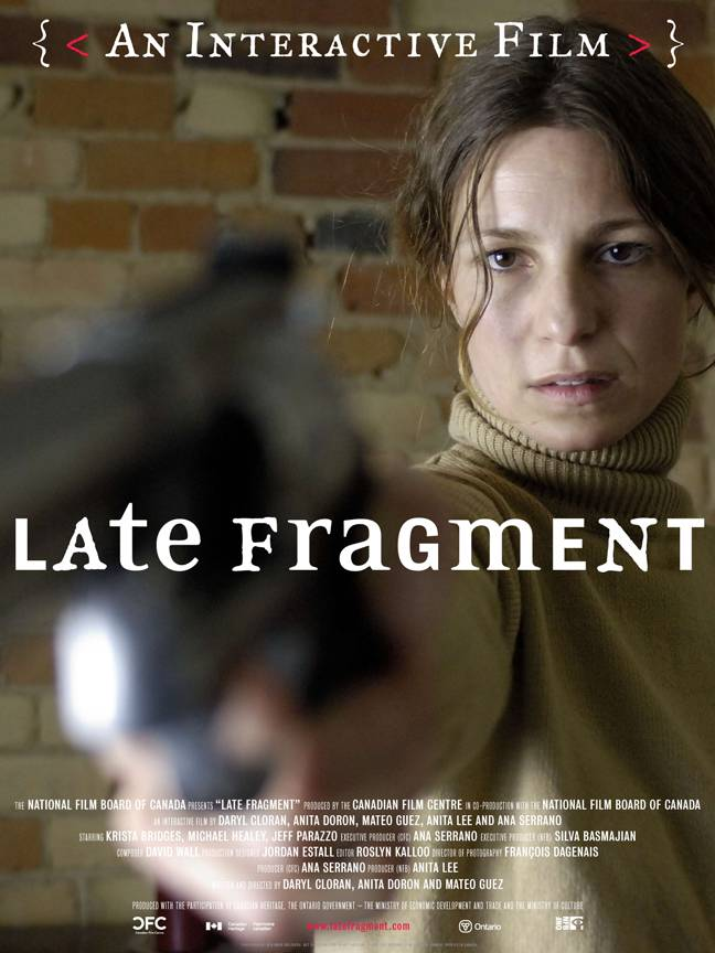 A woman holding up a gun. Text over the poster reads: Late Fragment