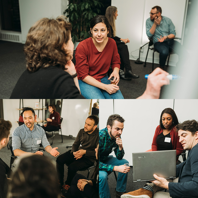 Photo collage of three images. Top image: Two women sitting next to each other, one of them is writing on a whiteboard. Bottom Right Image: Three people sitting around a laptop and looking at the screen. Bottom Left: Five people talking while sitting in a circle on chairs.