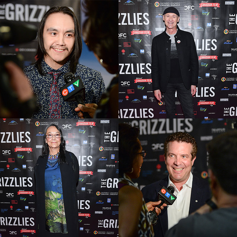 Four images of different people on the red carpet, getting their pictures and speaking to press.