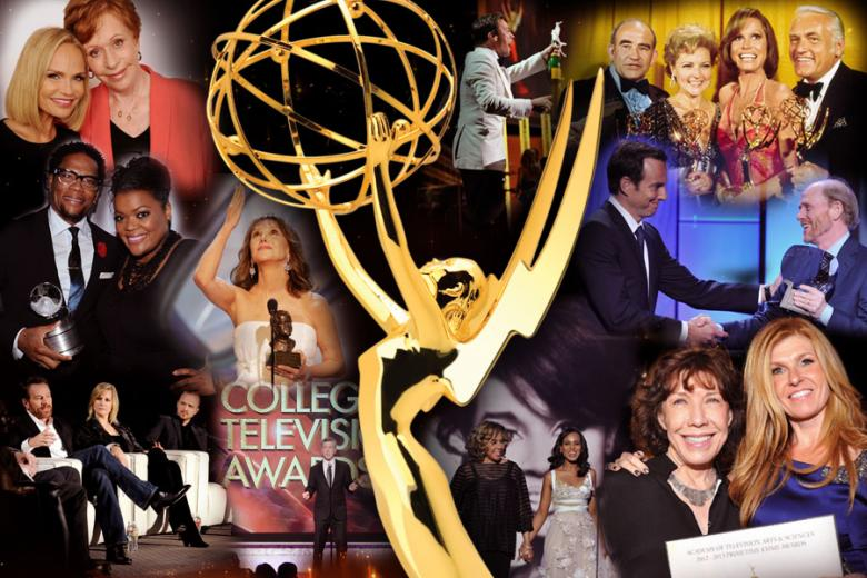 Collage of celebrates at the Emmy Awards.