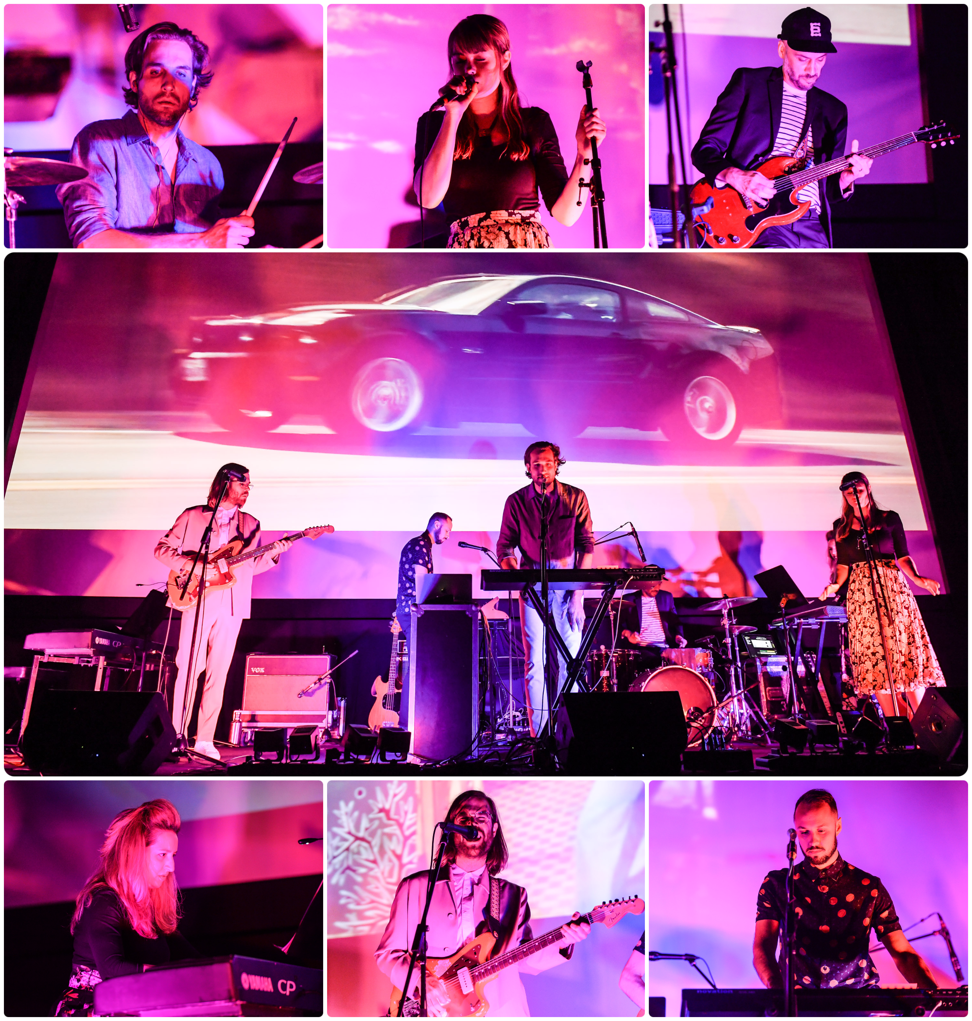 Three rows of photos in a gallery: top row is three close-ups of musicians performing; middle photo is long shot of a group of musicians onstage; bottom three areclose-ups of individual performers. All photos have a pink background because the lighting.