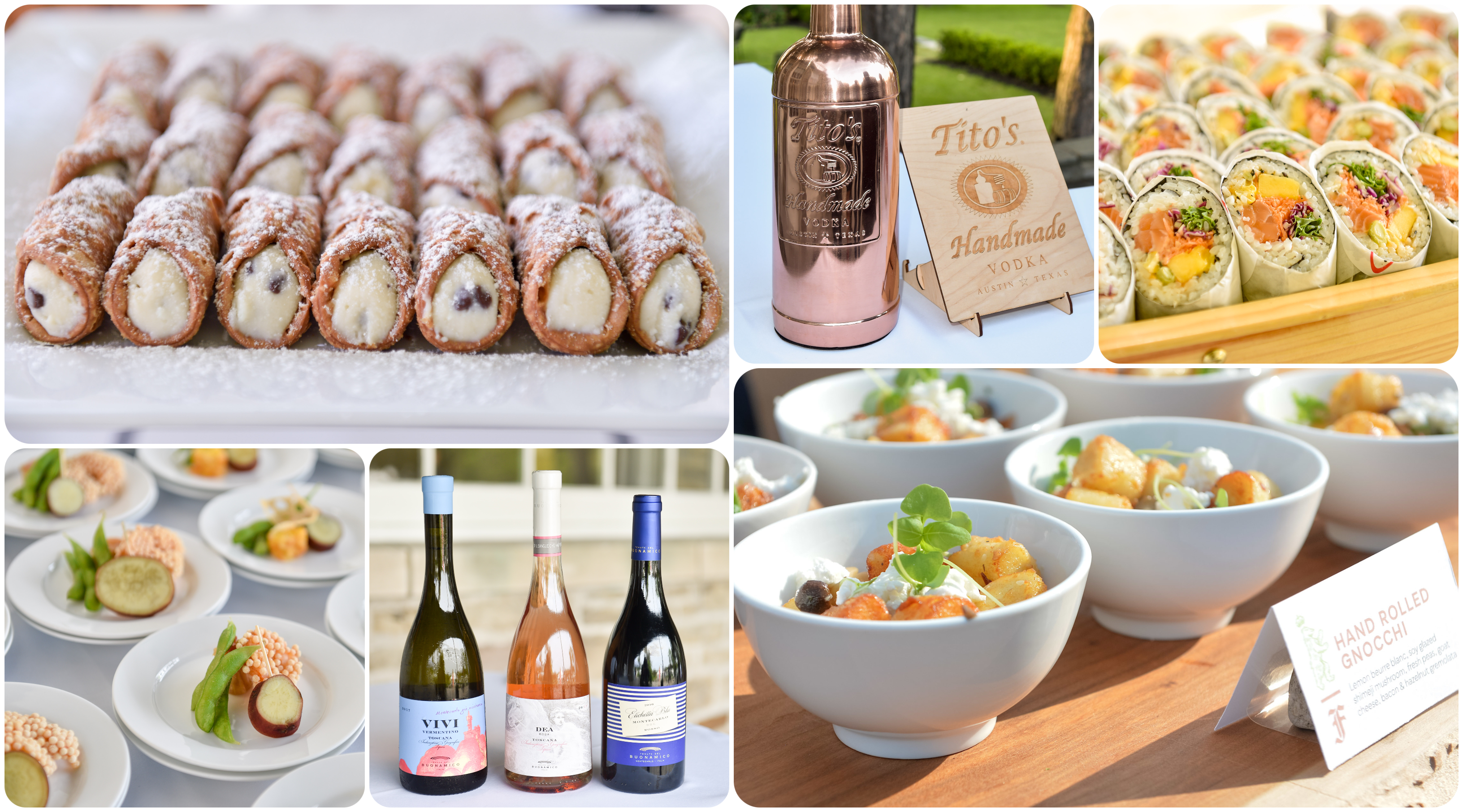 A gallery of six images, four of which are platters of food on display, one is a trio of wine bottles, and a third is a metallic rose gold bottle of vodka next to a sign.
