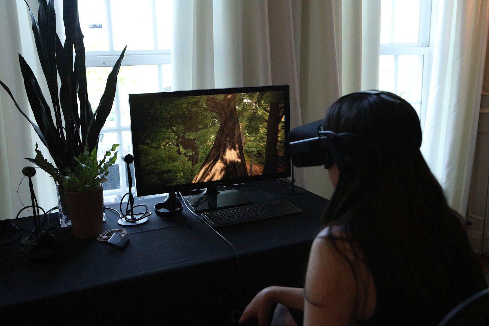 A person sitting at a desk wearing a VR headset. On the screen in front her is an image of a forest.