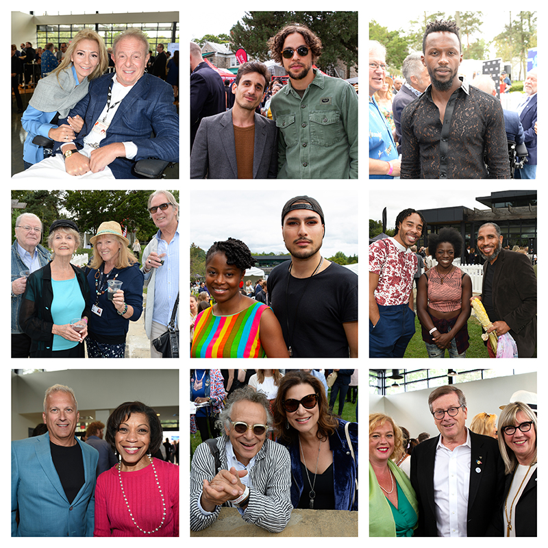 A collage of guests posing for pictures at a BBQ event