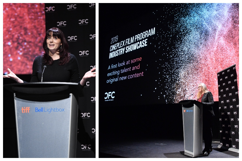 Two images of women speaking at a podium