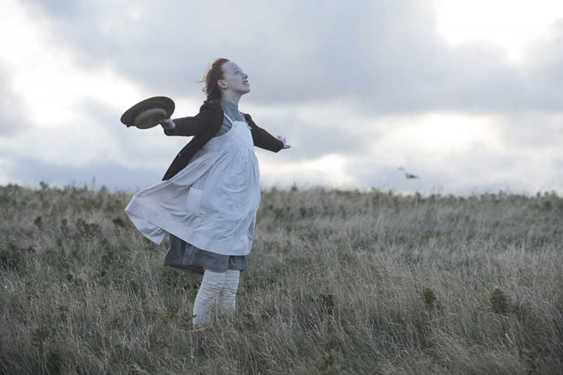 A young girl stands in a field of grass with her arms spread open