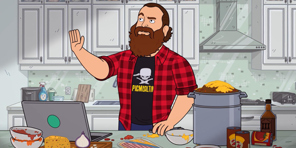 Animated man stands at a messy kitchen counter