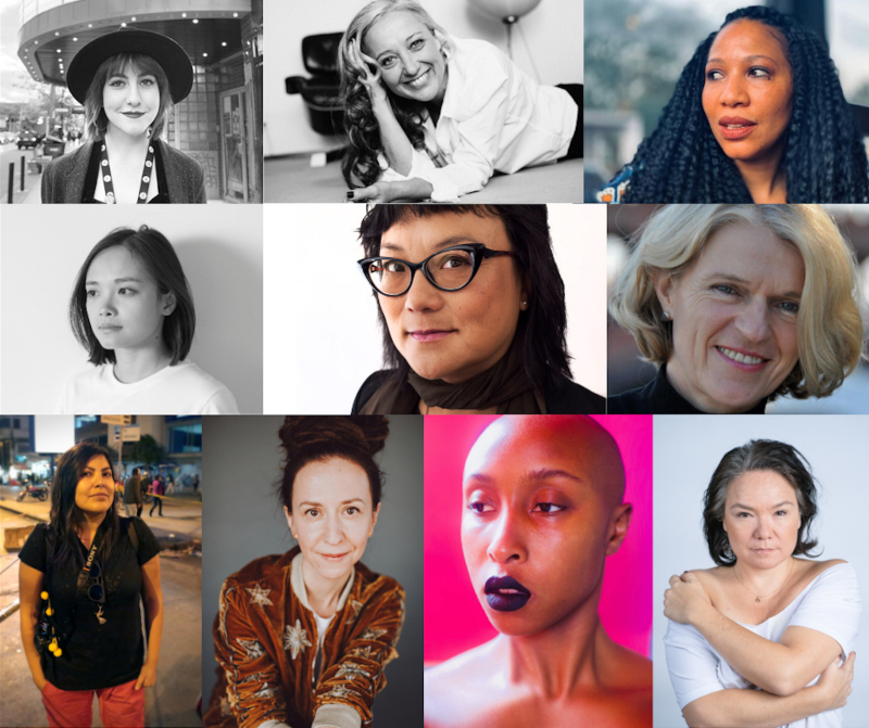 A collage of 10 different female filmmakers