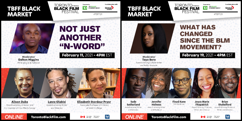 A collage of two images advertising panels at the Toronto Black Film Festival, with headshots of the panelists