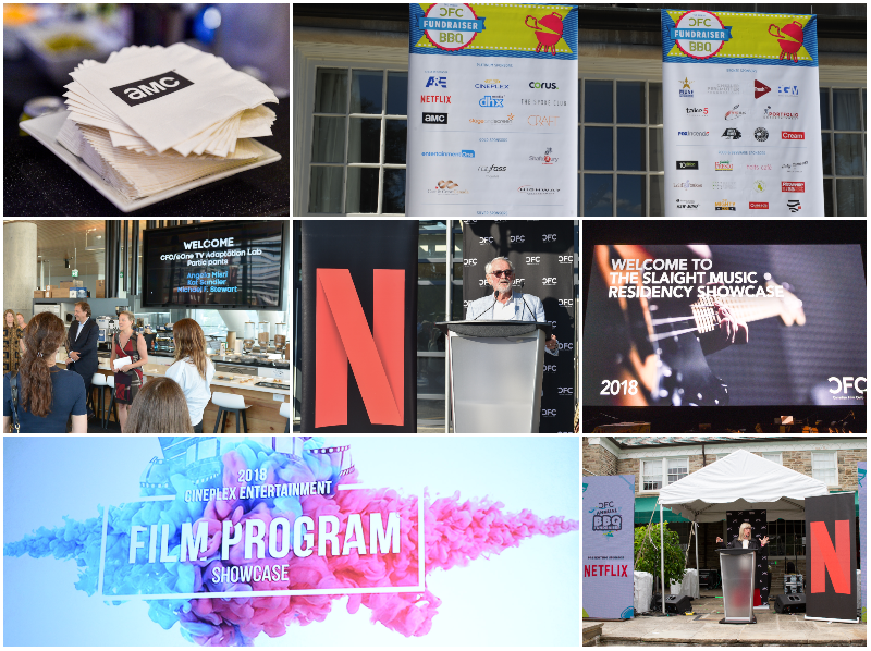 A collage of various sponsor signage at events - banners, screens, etc.