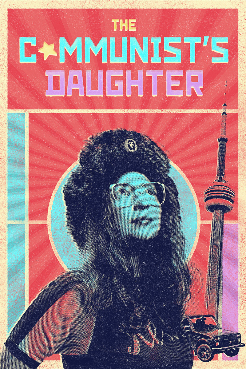 an image of a woman wearing a fur hat and glasses next to the CN tower