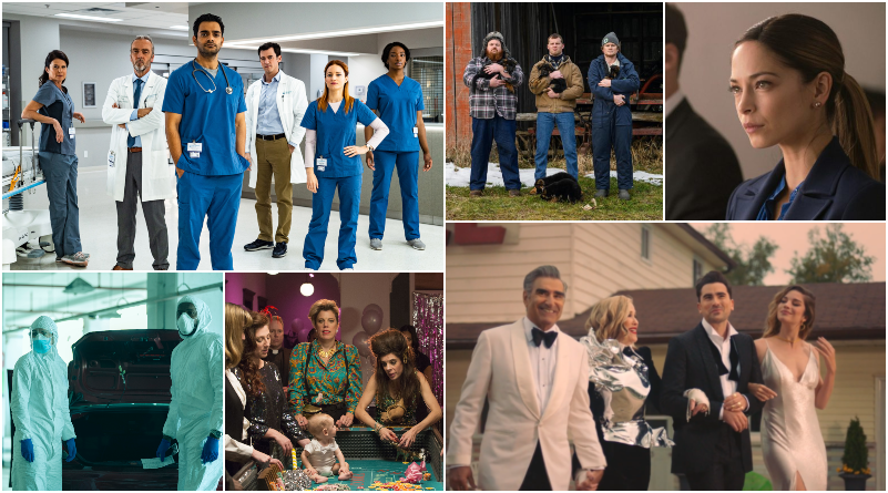 A collage of various TV series stills