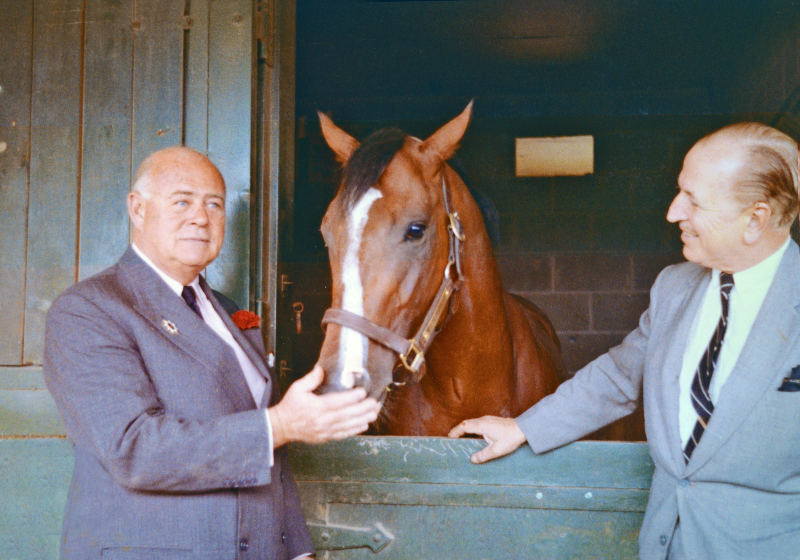 Two men stand beside a thoroughbred racehorse who is standing behind a stable.
