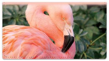 Pink Flamingo Checkbook Cover