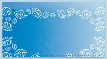 Blue Leaf Border Checkbook Cover