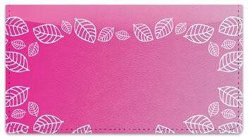 Pink Leaf Border Checkbook Cover