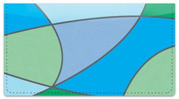 Cool Blue Curve Checkbook Cover