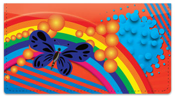 Retro Rainbow Checkbook Cover
