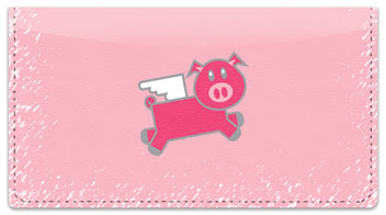 Pink Pig Checkbook Cover