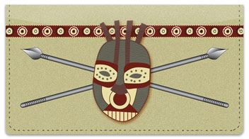 African Tribal Mask Checkbook Cover