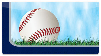 Silver & Blue Baseball Fan Checkbook Cover