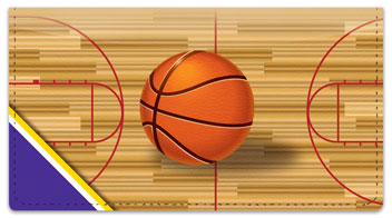 Purple & Gold Basketball Checkbook Cover