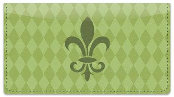 Green Fleur de Lis Checkbook Cover