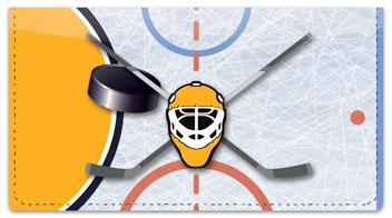 Blue & Gold Hockey Checkbook Cover