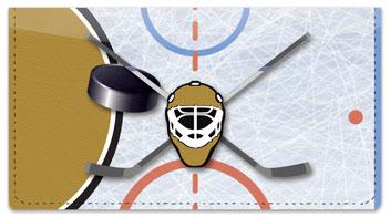 Black & Gold Hockey Checkbook Cover