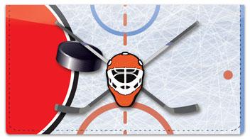 Red & Black Hockey Checkbook Cover