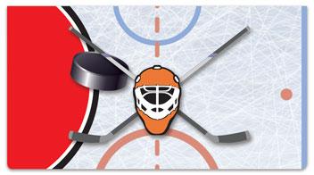 Red & Blue Hockey Checkbook Cover
