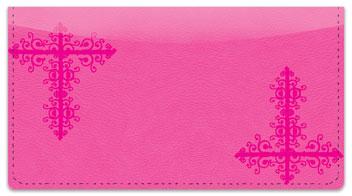 Pink Corner Scroll Checkbook Cover