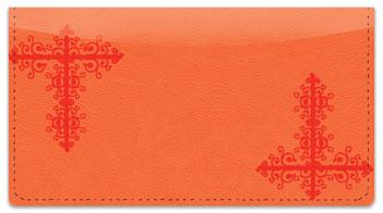 Red Corner Scroll Checkbook Cover