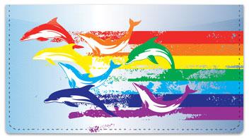 Rainbow Dolphin Checkbook Cover