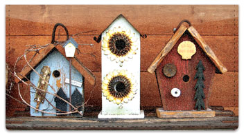 Country Birdhouse Checkbook Cover
