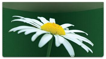 White Flower Checkbook Cover