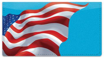 Waving US Flag Checkbook Cover