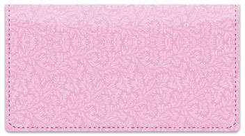 Pink Leaves Checkbook Cover