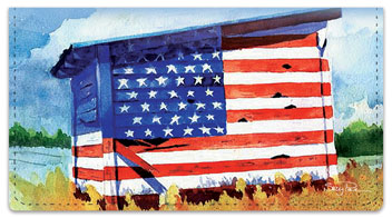 Americana Painting Checkbook Cover