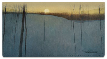 Moon Painting Checkbook Cover