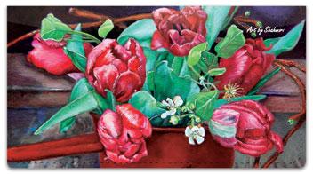 Shahmiri Flowers Checkbook Cover
