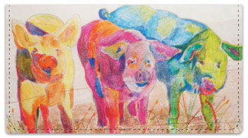 Kay Smith Pig Checkbook Cover