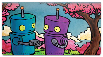 Robots In Love Checkbook Cover