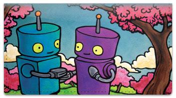 Robots In Love Checkbook Cover