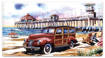 Surfin Woodies Checkbook Cover