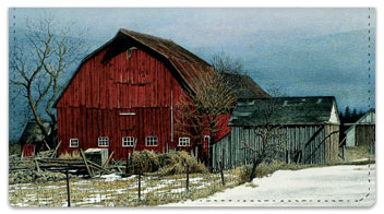 Winter Farm Checkbook Cover